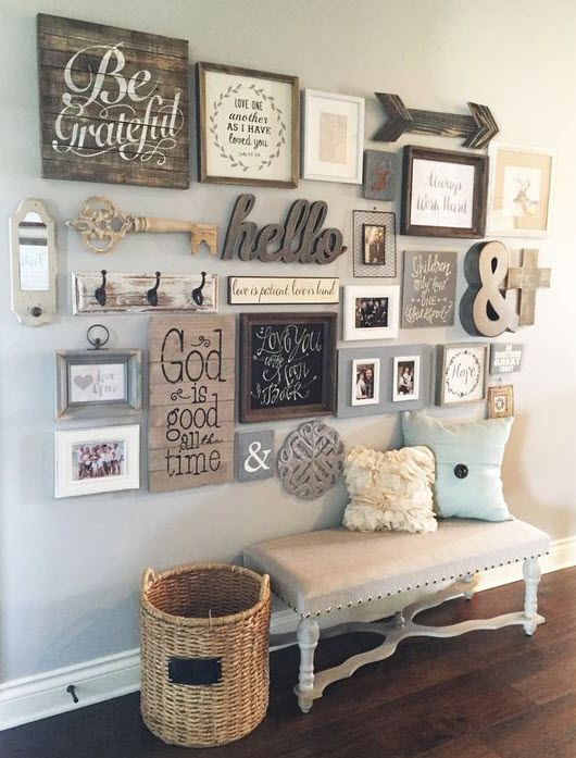 add a rustic feel with a gallery wall including rustic signs, letters of wood and whitewashed frames