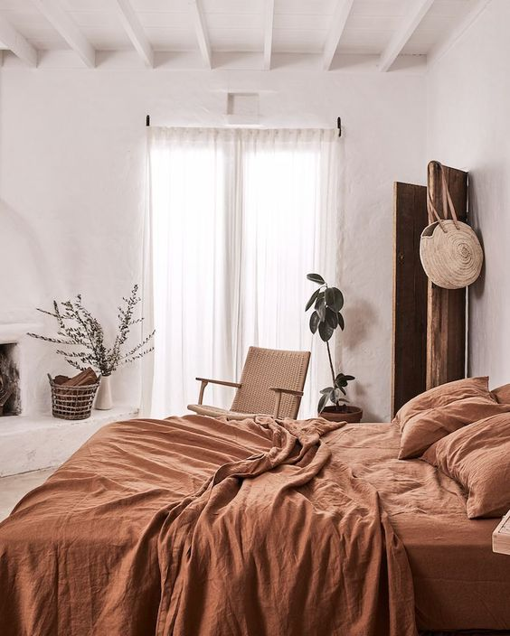 burnt orange bedding is great because it's warm and welcoming and it's a trending color