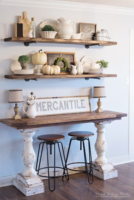 a rustic shabby chic console table and matching shelves, industrial stools