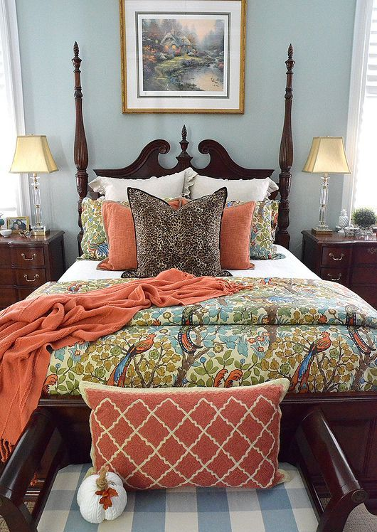 burnt orange and flora and fauna prints for a fall inspired bed