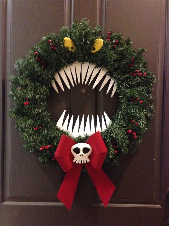 man eating wreath inspired from The Nightmare Before Christmas