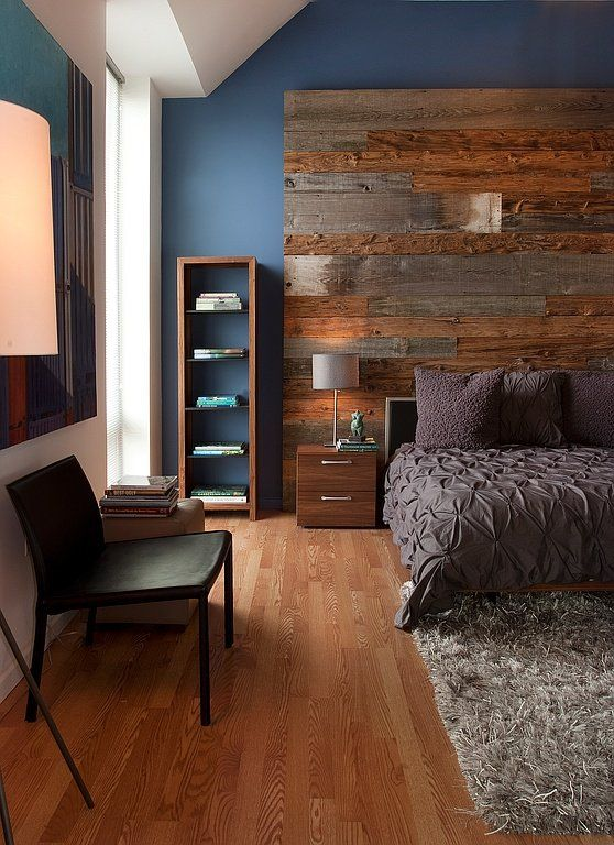 textural chocolate brown bedding looks welcoming and chic with a reclaimed wood headboard