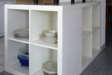 DIY L-shaped kitchen island from IKEA Expedit