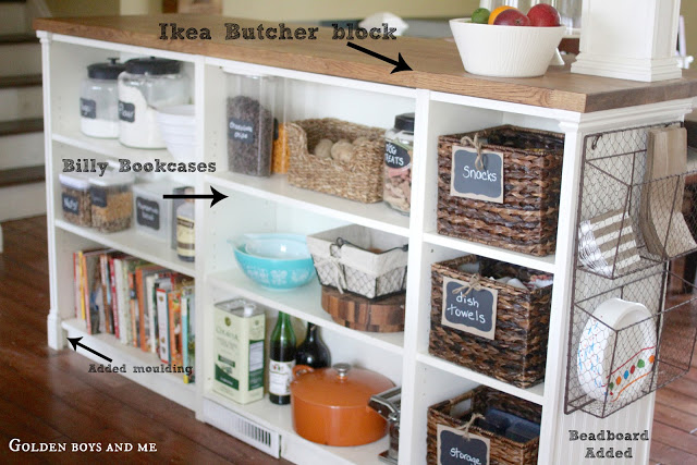 DIY kitchen island from IKEA items (via www.goldenboysandme.com)