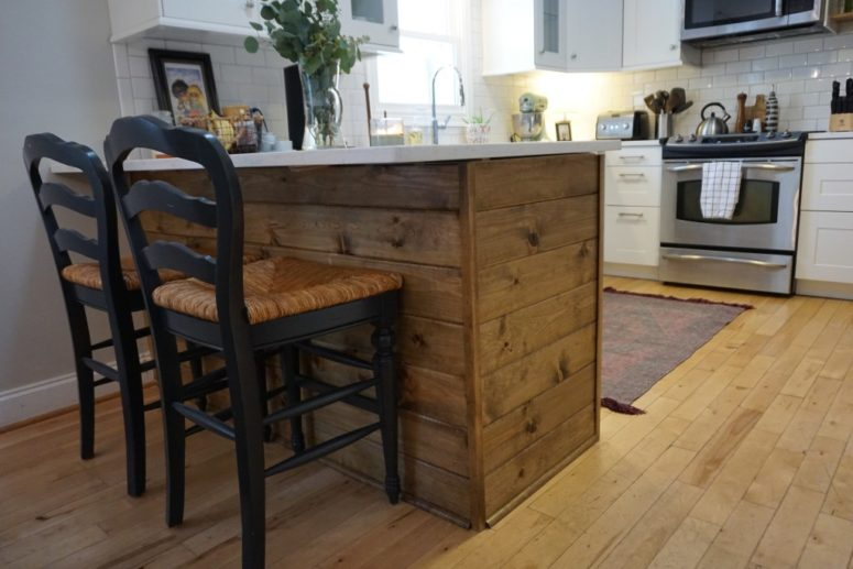 DIY kitchen island with a rustic touch (via dahliasanddimes.com)