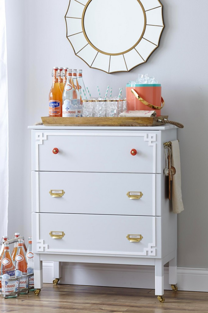 DIY IKEA Tarva dresser hack into a bar cart (via cityfarmhouse.com)