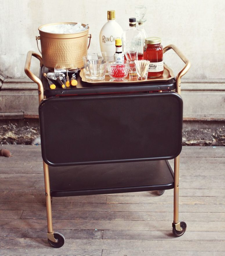 DIY restyled liquor cart (via abeautifulmess.com)