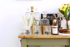 DIY bar cart from an IKEA kitchen one