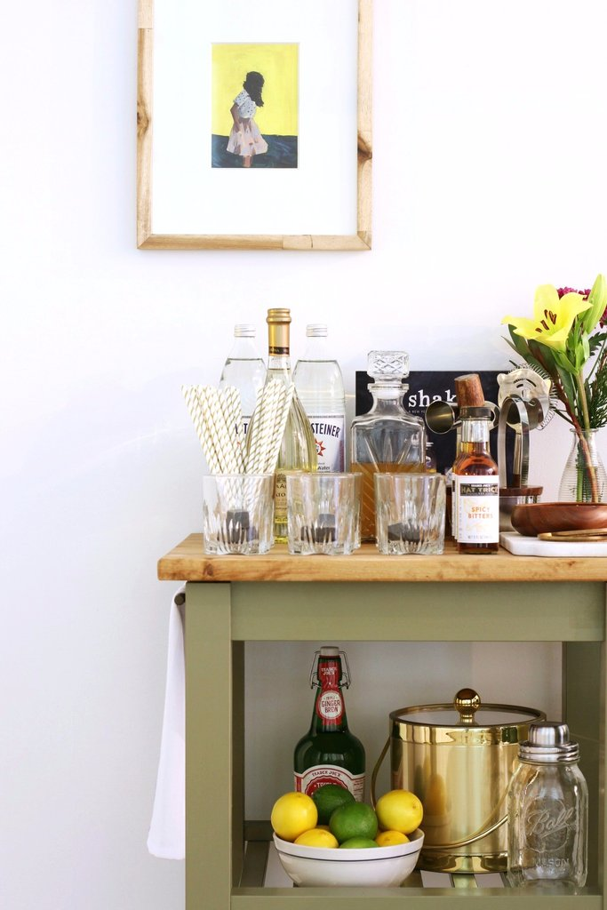 DIY bar cart from an IKEA kitchen one (via www.popsugar.com)