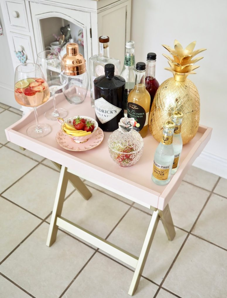 DIY pink IKEA bar cart (via www.daintydressdiaries.com)