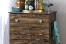 DIY Tarva dresser into a bar cart