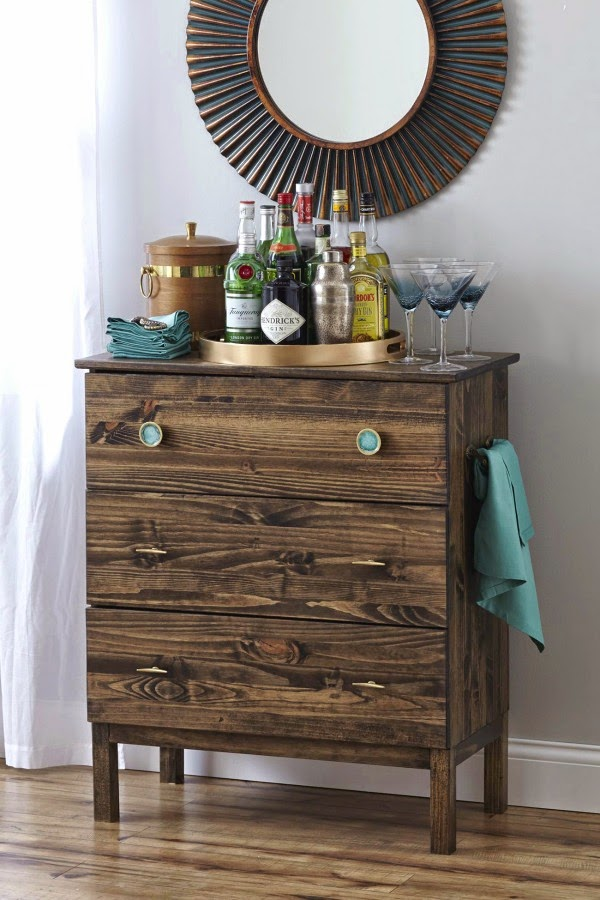 DIY Tarva dresser into a bar cart (via myfabulesslife.com)
