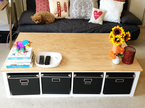 DIY IKEA Kallax shelf into a coffee table (via www.shelterness.com)