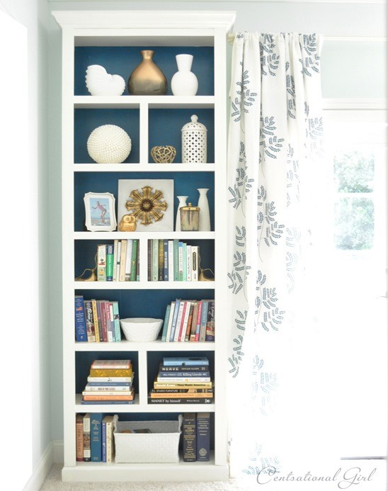 DIY Billy bookcase makeover in blue shades (via knockoffdecor.com)