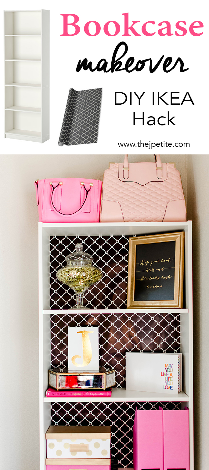 DIY printed backing bookcase makeover (via www.thejpetite.com)