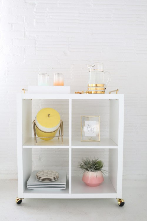 DIY Kallax shelf turned into a bar cart (via www.shelterness.com)