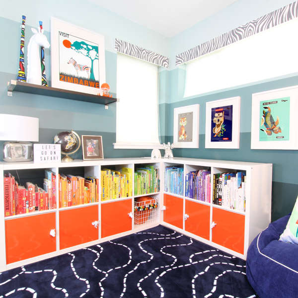 DIY IKEA Kallax hack with colorful vinyl (via www.blueistyleblog.com)