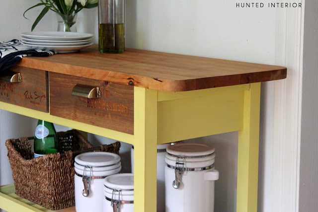 DIY Forhoja cart hack with new drawer fronts (via huntedinterior.com)