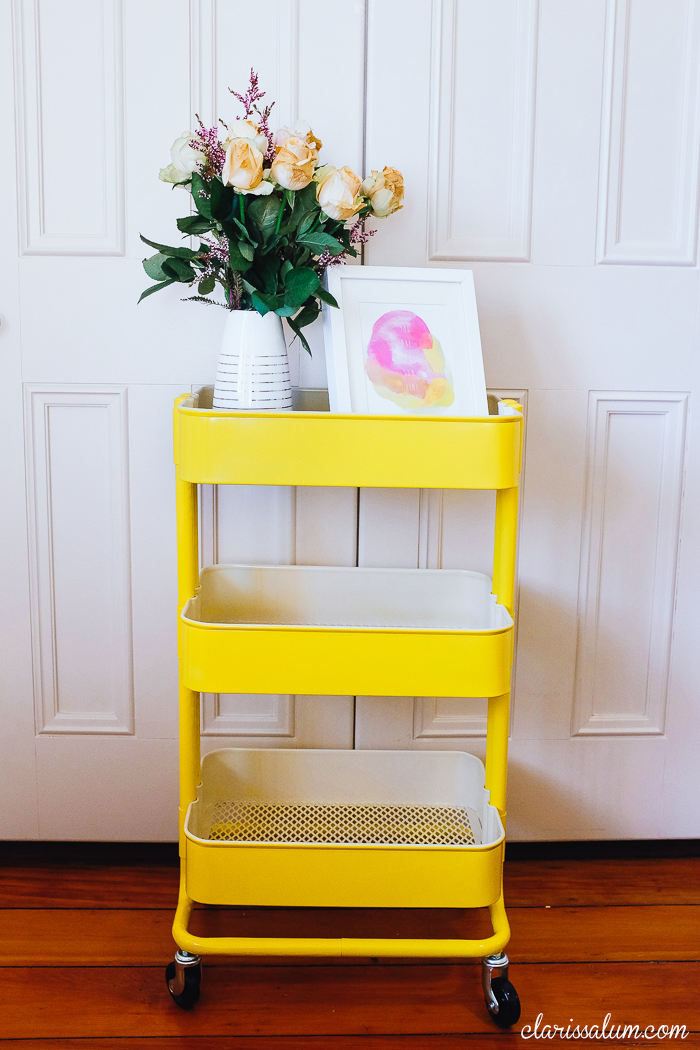 DIY Raskog cart hack with yellow paint (via clarissalum.com)