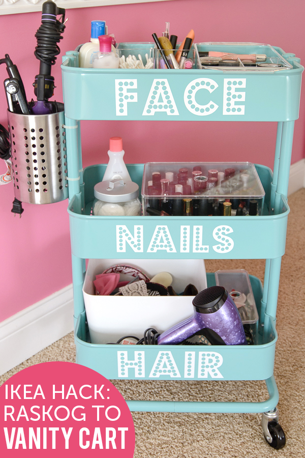 DIY rolling vanity from an IKEA Raskog cart (via www.polkadotchair.com)