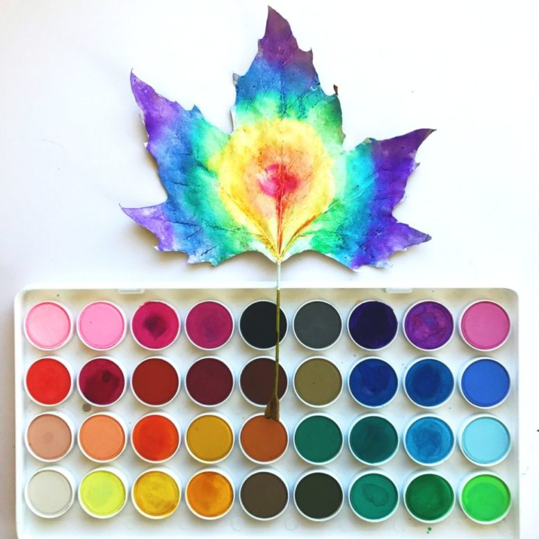 DIY watercolor leaf art (via colormadehappy.com)