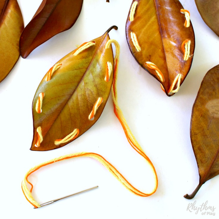 DIY fall leaf lacing (via rhythmsofplay.com)