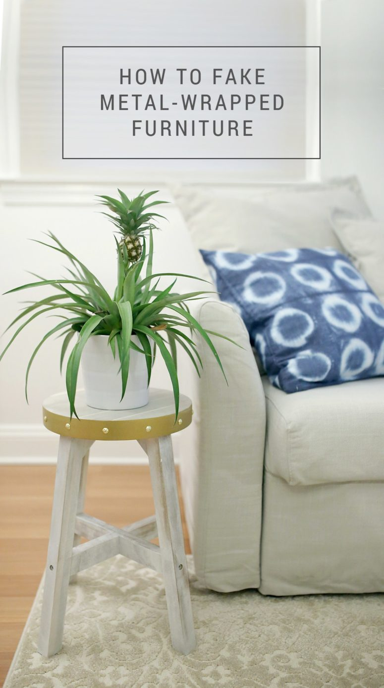 DIY metal wrapped Skogsta stool (via www.shrimpsaladcircus.com)