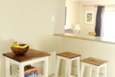 DIY Bosse stools with rustic wood seats