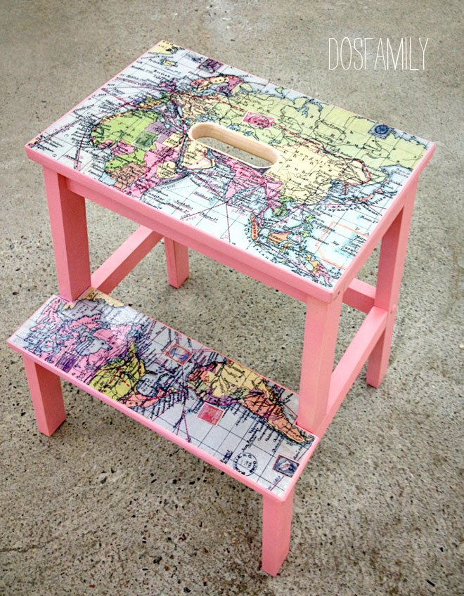 DIY Bekvam stool hack with maps (via dosfamily.com)