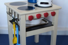 DIY IKEA Oddvar stool hack into a play kitchen