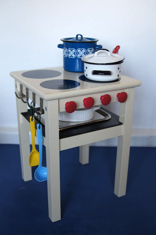 DIY IKEA Oddvar stool hack into a play kitchen (via www.apartmenttherapy.com)