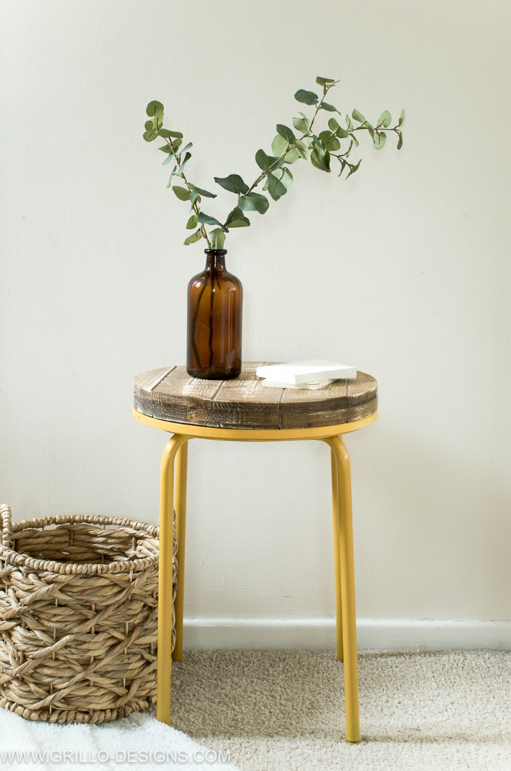 DIY Marius stool with a wooden top into a side table (via grillo-designs.com)