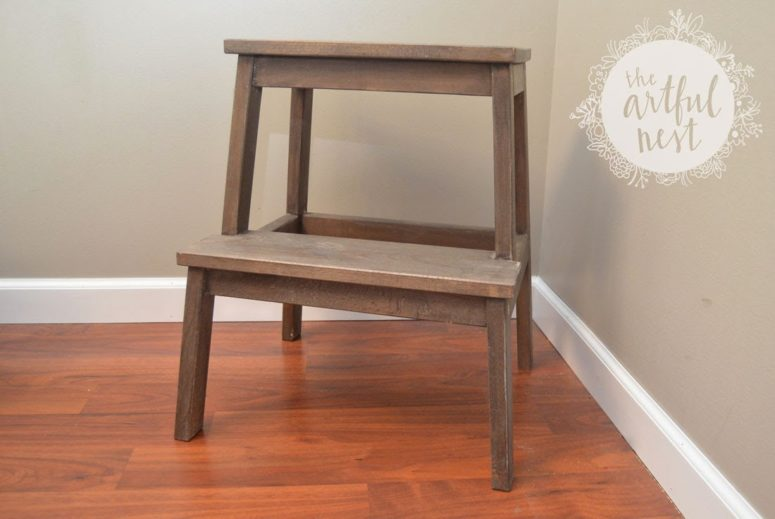 DIY IKEA Bekvam stool hack with stain (via www.theartfulnest.com)