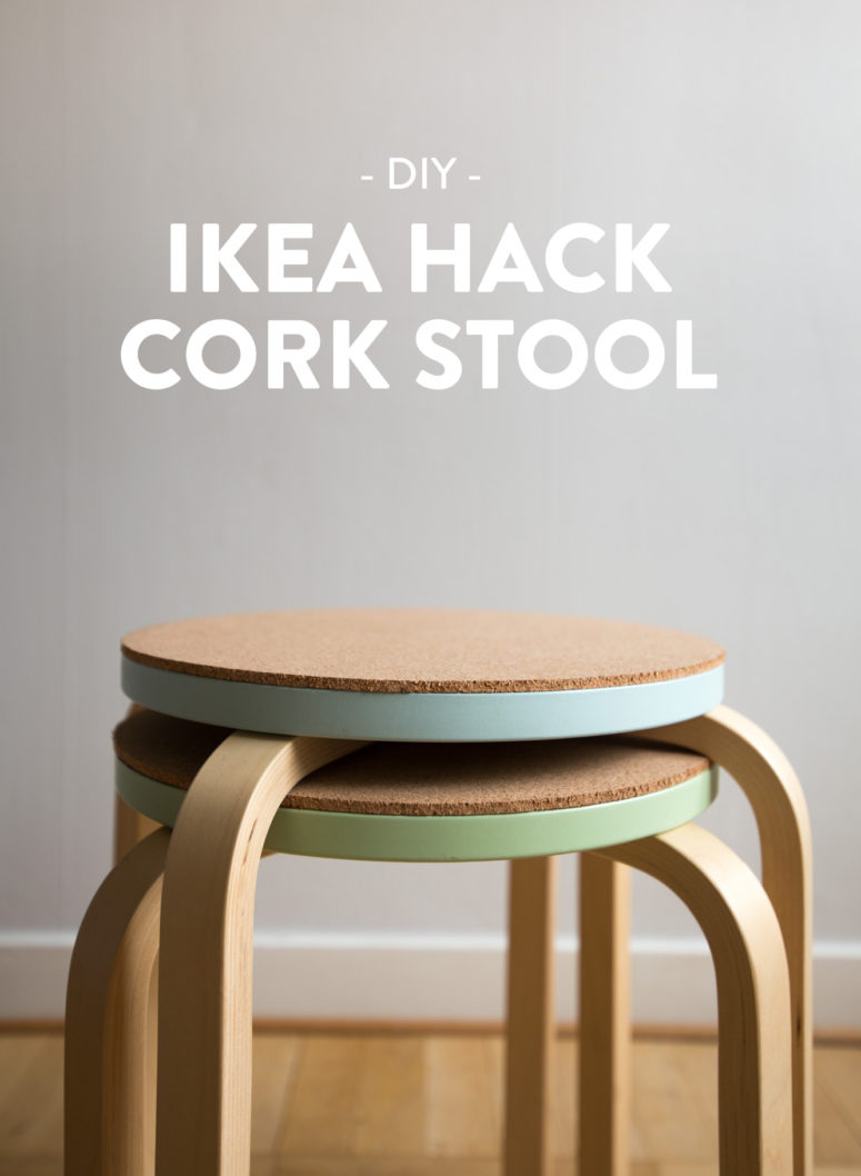 DIY IKEA Frosta stool hack with cork (via dnilva.se)