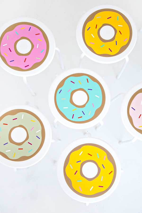 DIY IKEA stool hack with donut vinyl stickers (via studiodiy.com)