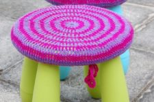 DIY Mammut stool with crochet covers