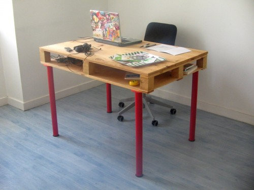 DIY IKEA Vika Curry legs and a pallet into a desk (via www.shelterness.com)