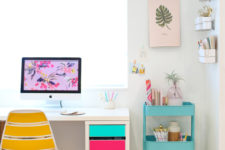 DIY IKEA desk hack with adhesive vinyl