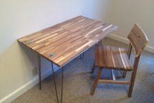DIY desk from IKEA Skogsta chopping boards