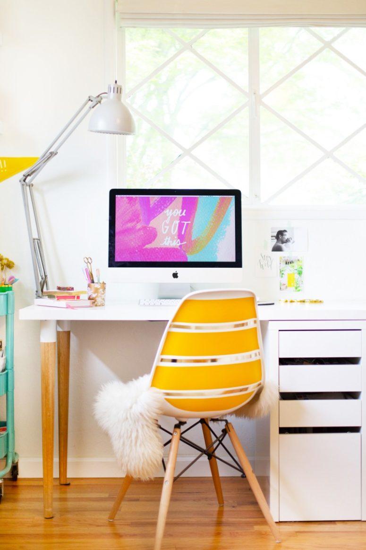 DIY stylish desk from IKEA items (via lovelyindeed.com)