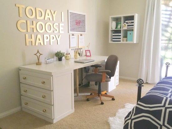 DIY glam Malm desk (via www.ikeahackers.net)