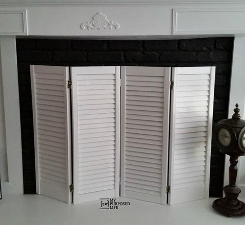 shutter DIY fireplace screen