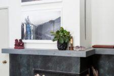 DIY log slice fireplace screen