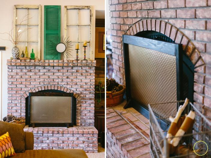 DIY wooden frame laser cut fireplace screen (via zestitup.com)