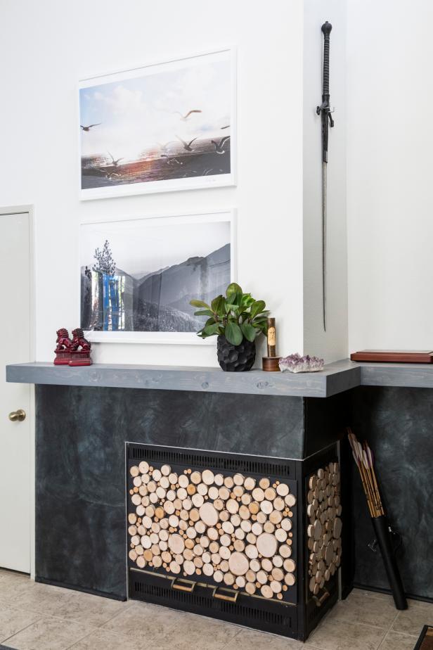 DIY log slice fireplace screen (via www.diynetwork.com)