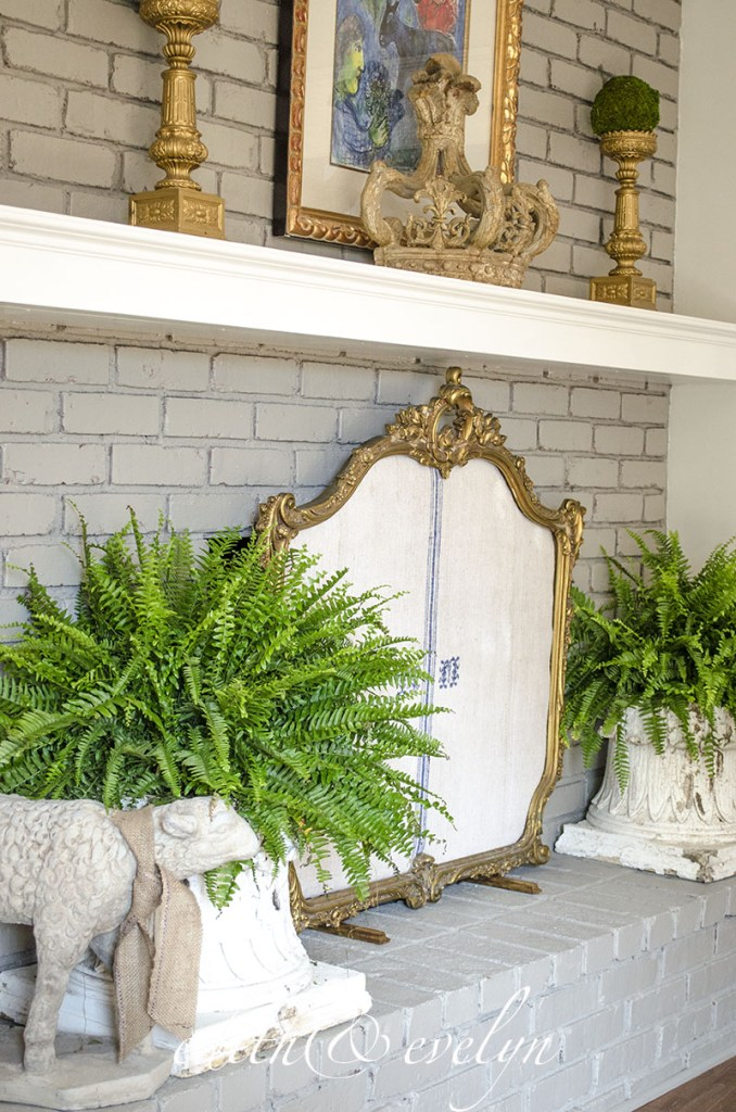DIY French style fireplace screen