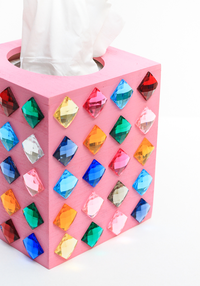 DIY rhinestone tissue box (via thecraftedlife.com)