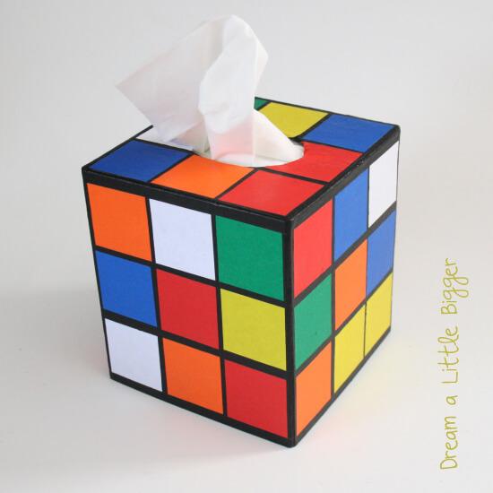 DIY Rubik cube tissue box (via www.dreamalittlebigger.com)