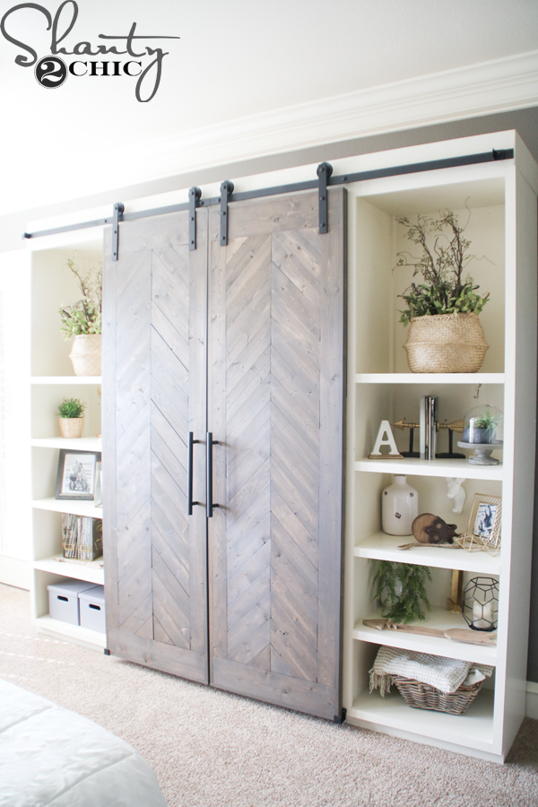 DIY sliding barn door media console (via www.shanty-2-chic.com)