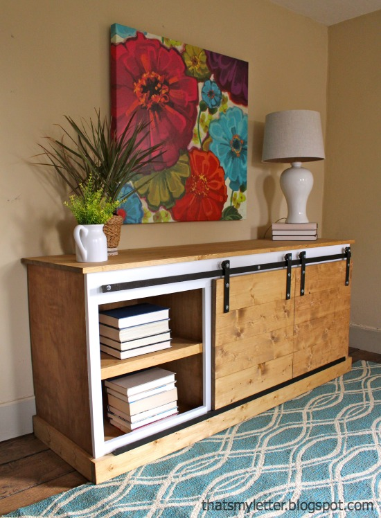 DIY sliding barn door console  (via jaimecostiglio.com)
